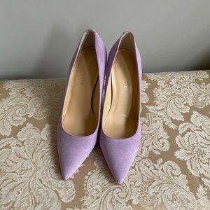 Lavender high heel suede pumps